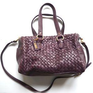 Cole Haan Purple Heritage Weave Leather Satchel